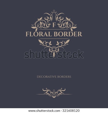 Decorative vector frame, border. Floral ornament. Template signage, logos, labels, stickers, cards. Graphic design page.