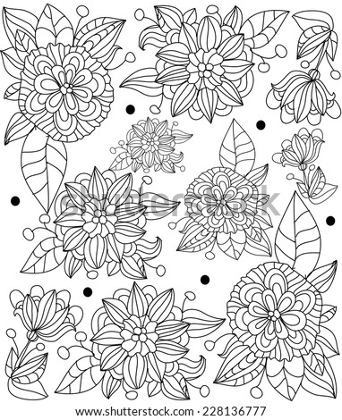 decorative vector illustration of a stylized flower line, a beautiful pattern decorative flowers