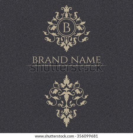 Decorative vector monogram, border. Template signage, logos, labels, stickers, cards. Graphic design page. Floral ornament. Classic design elements for wedding invitations.