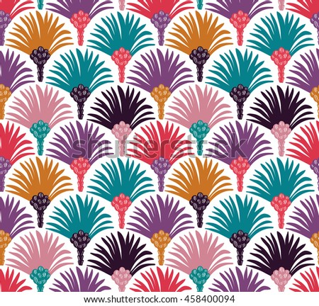 Decorative vector seamless pattern with palm trees. Bright fabric design.