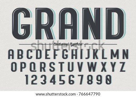 Decorative vector vintage retro typeface, font