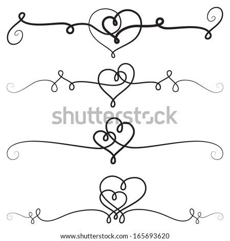 Decorative Vignettes With Hearts; Vintage Borders, Scrolls; Vector Set