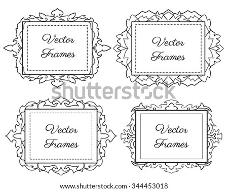 Decorative vintage black and white frames and borders set #2 vector