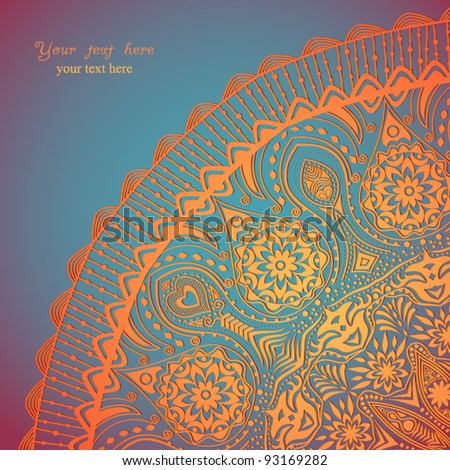 Decorative Vintage Design Element, illustration with lacy frame decoration, ornamental corner with floral endless pattern. You can use it separately.