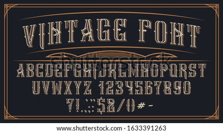 Decorative vintage font on the dark background. Perfect for brand, alcohol labels, logos, shops and many other uses. Vector