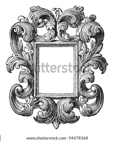 Decorative vintage frame / vintage illustrations from Meyers Konversations-Lexikon 1897