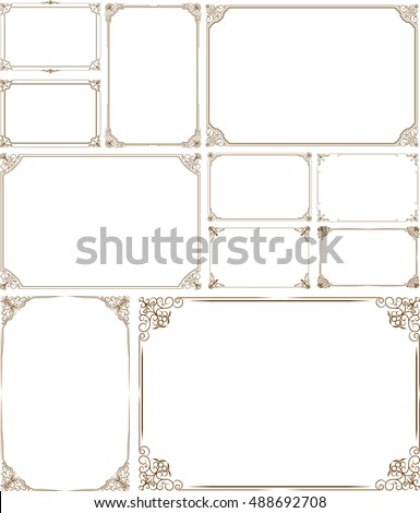 Decorative vintage frames and border set,photo , Gold photo frame with corner thailand line floral for picture, Vector design decoration pattern style.frame border design is pattern Thai style