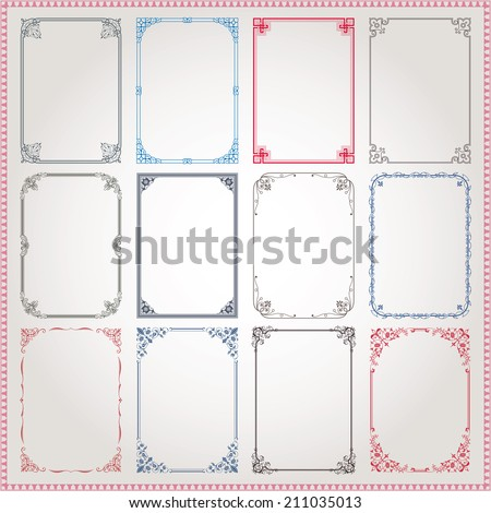 Decorative vintage frames and borders A4 proportions set #3 vector