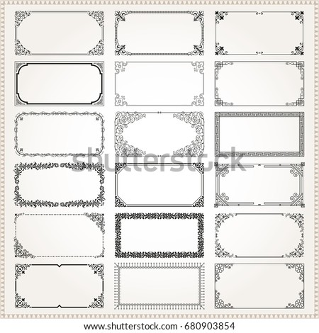 Decorative vintage frames borders backgrounds rectangle 2x1 proportions set 2 vector