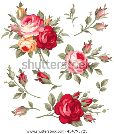 decorative vintage rose and bud
