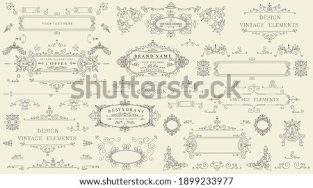 Decorative vintage set of thin calligraphic elements: borders, frames, dividers, ornaments, page decoration. Combinations for retro design, greeting cards, certificates and invitations. Vector.
