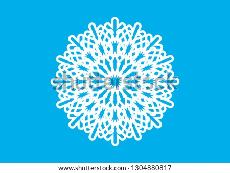 Decorative white snowflake vector. Graphic white snowflake vector. Abstract snowflake vector. White snowflake on a blue background