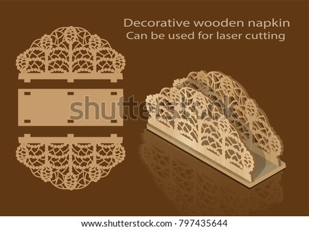 Decorative wooden napkin, can be used for laser cutting