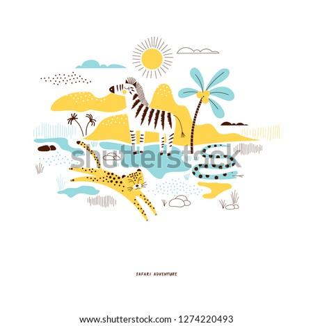 decorative yellow and blue savannah wildlife illustration with zebra and leopard, scandinavian style safari graphic, kids summer t-shirt print