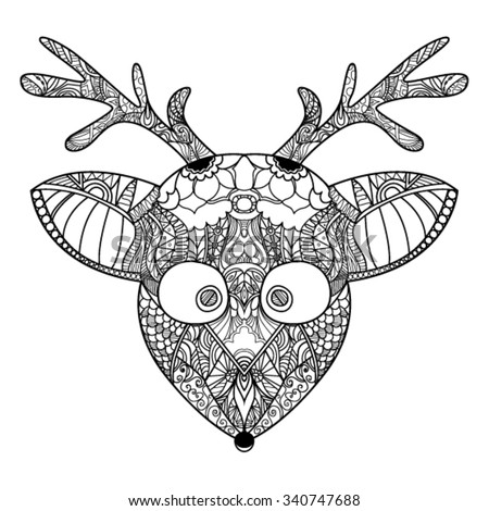 decorative zendoodle reindeer