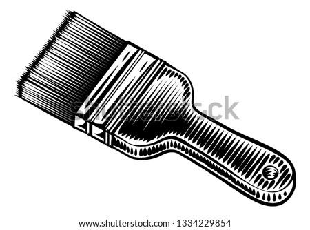 Decorators paintbrush in a vintage intaglio woodcut engraved or retro propaganda style Stockfoto ©