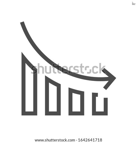 Decrease arrow, bar chart or bar graph vector icon. Set of data, info to show trend in negative direction i.e. financial, money, price, cost, rate, sale, salary, profit, gdp, stock or value. 48x48 px. ストックフォト ©