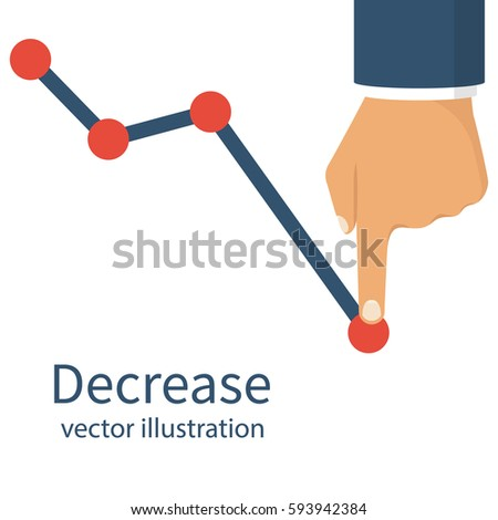 Decrease graph. Businessman hand down profit business chart. Stock financial trade market diagram. Vector illustration flat design. Isolated on white background. Declining graph. Downward arrow. ストックフォト ©