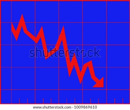 Decrease graph. Stock financial trade market diagram. Vector illustration flat design. Isolated on blue background. Declining graph. Downward arrow.