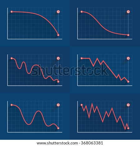 Decreasing graph. Crisis or collapse set of diagrams, red lines, flat style vector illustration