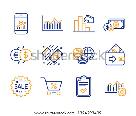 Decreasing graph, Wallet and Special offer icons simple set. Money diagram, Payment and Checklist signs. World money, Smartphone statistics and Sale symbols. Operational excellence. Vector
