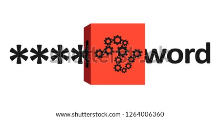 Decryption and decoding of encrypted and encoded password and passcode - cipher is unlocked by cipher device. Cryptography and hacking. Vector illustration