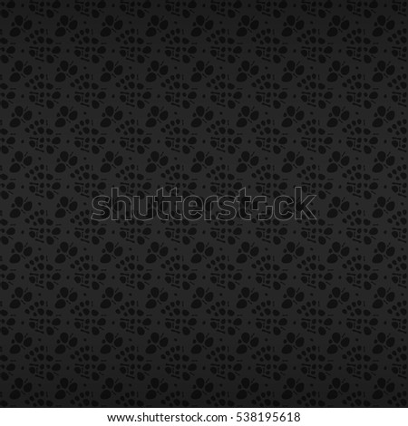 Deep black color geometrical seamless pattern in tissue style. Contemporary design. Flat tessellated repeatable backdrop.