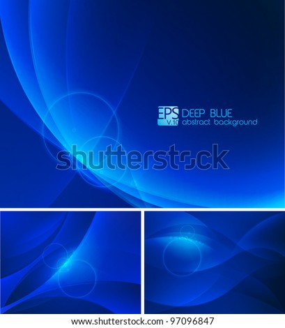 Deep blue Abstract Background. A set of deep blue abstract background. Each background separately on different layers.