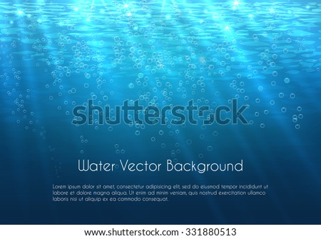 Deep blue water vector background with bubbles. Underwater sea nature illustration