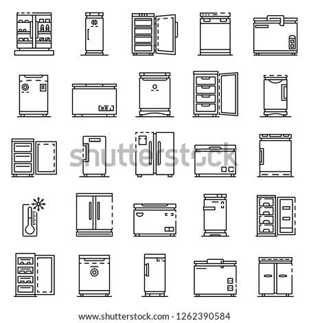 Deep freezer icon set. Outline set of deep freezer vector icons for web design isolated on white background