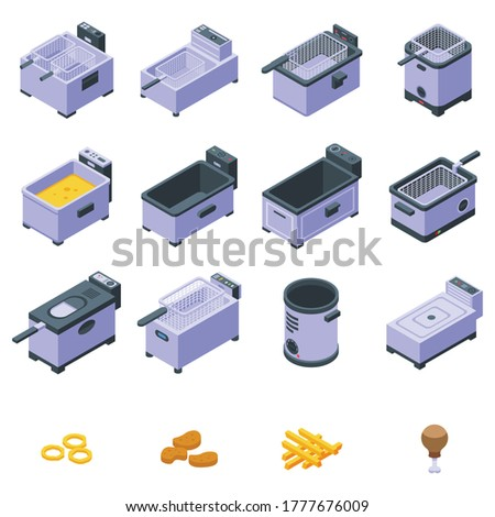 Deep fryer icons set. Isometric set of deep fryer vector icons for web design isolated on white background Stockfoto ©
