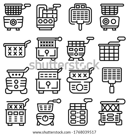Deep fryer icons set. Outline set of deep fryer vector icons for web design isolated on white background Stockfoto ©