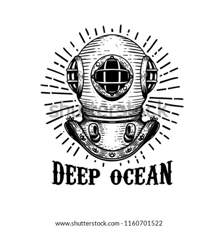Deep ocean. Old style diver helmet on white background. Design element for t-shirt print, poster, emblem. Vector illustration.