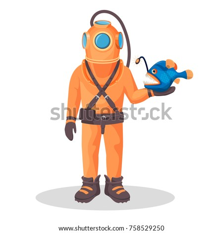 deep sea diver in pressure suit