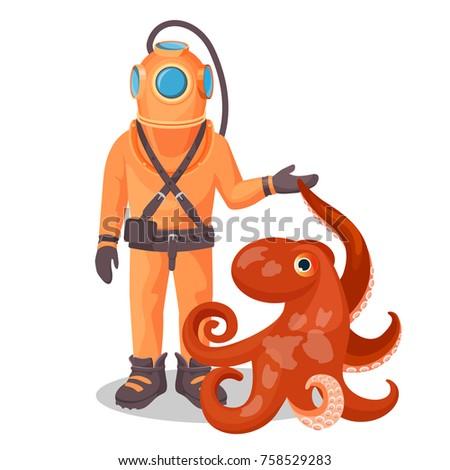 deep sea diver in pressure suit