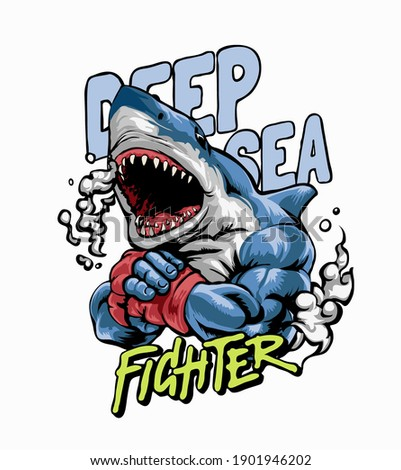 deep sea fighter slogan with shark fighter graphic illustration