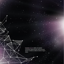Deep Space background with abstract lines and triangles. Universe template, with space for your text.