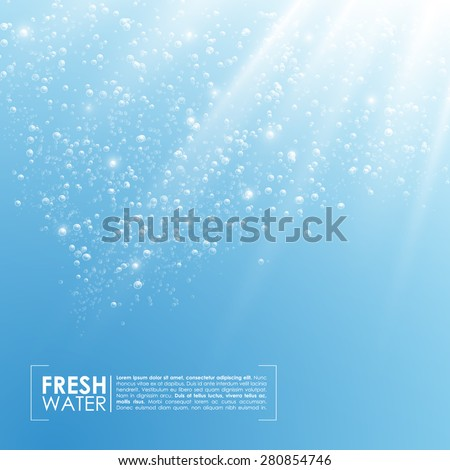 Deep Water Bubbles Illuminated By Rays Of Light Vector Illustration