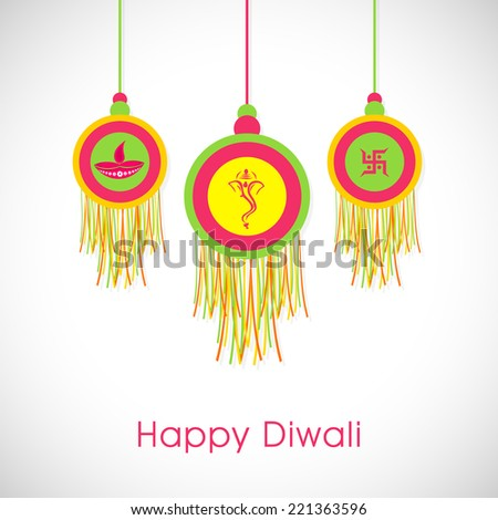Deepawali celebration with stylish hanging and text of Happy Diwali on shiny white and light grey