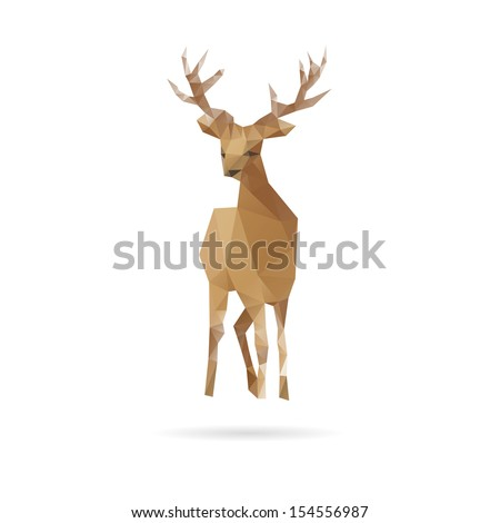 Deer abstract isolated on a white backgrounds, vector illustration