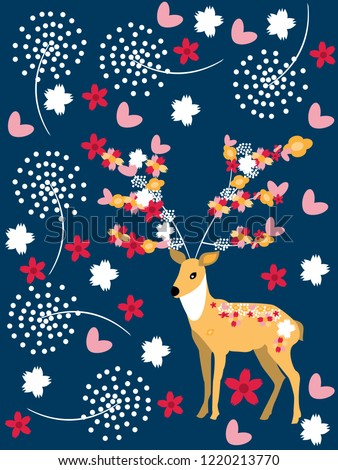 Deer and flowers on Chow Deer - used as a background and illustrator and used to postcard.