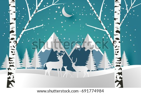 deer and little deer in forest with snow. christmas and winter season. paper art
