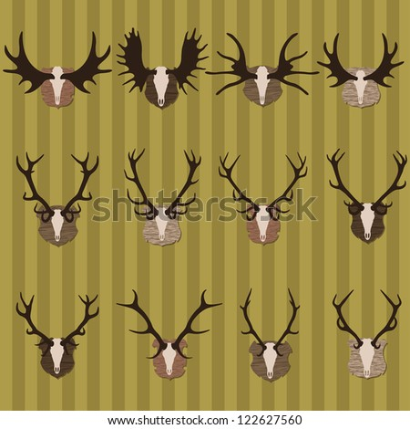 Deer and moose horns hunting trophy and coat of arms shields illustration collection background vector - stock vector