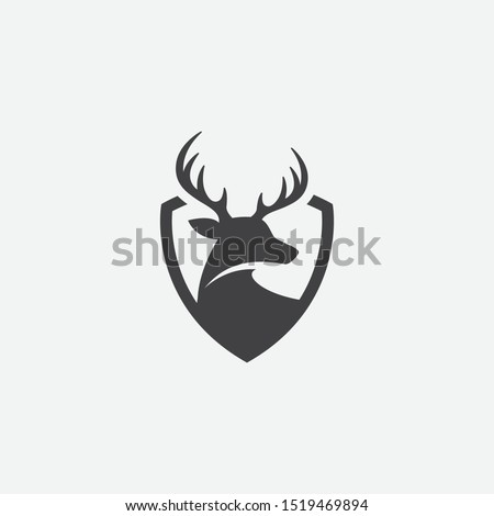 Deer and shield logo design template. deer head logo icon, deer shield icon design illustrtion, impala icon