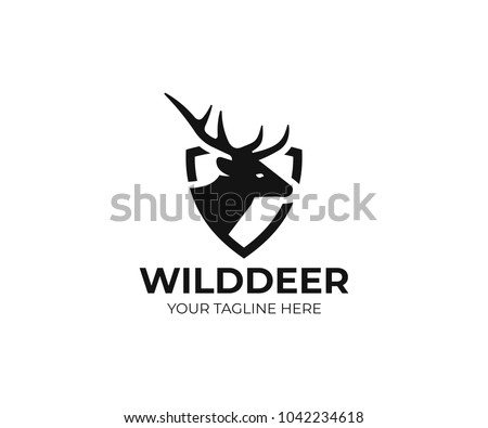 Deer and shield logo template. Stag vector design. Elk logotype