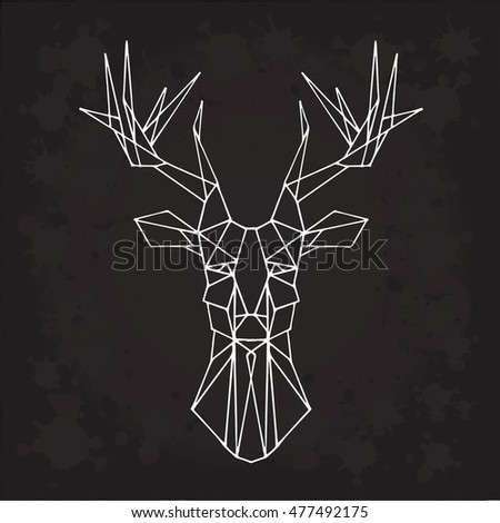 Deer animal vector on a black background. Object isolated cartoon illustration. Doodle geometric style. Cloth design, icon, logo, poster, textile, paper,card, invitation,holiday.Color magic art. Eps10