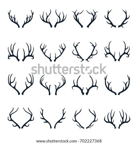 Deer Antler Icon Set Vector Illustration