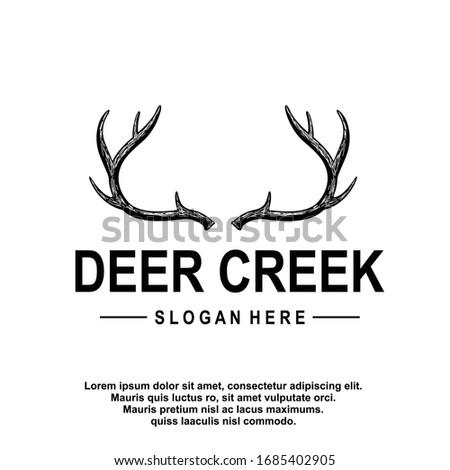 Deer antler ilustration logo vector template Foto stock ©