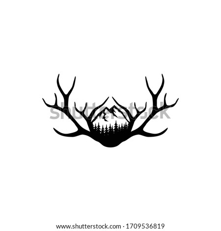 Deer Antlers Logo. Antlers Vector Template Design.  Foto stock ©