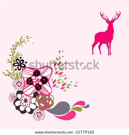 deer background - stock vector